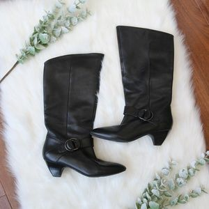 MARC FISHER Black Leather Knee-high Boots - Buckle